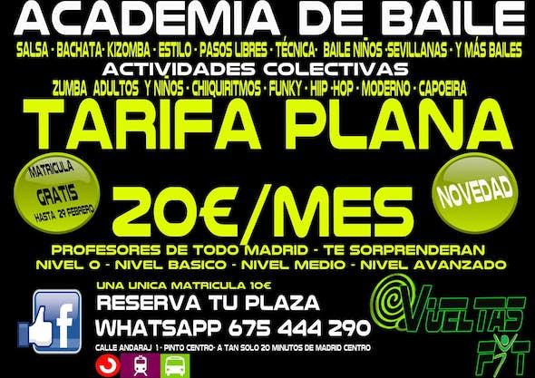 Tarifa Plana Vueltas 20€/Mes + 150 h Clases Salsa,Bachata y kizomba