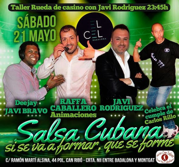 Cuban Salsa Party on Saturday in El Cel Badalona