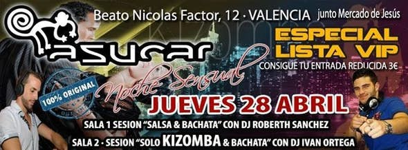 Thursday especial VIP List in Asucar Valencia