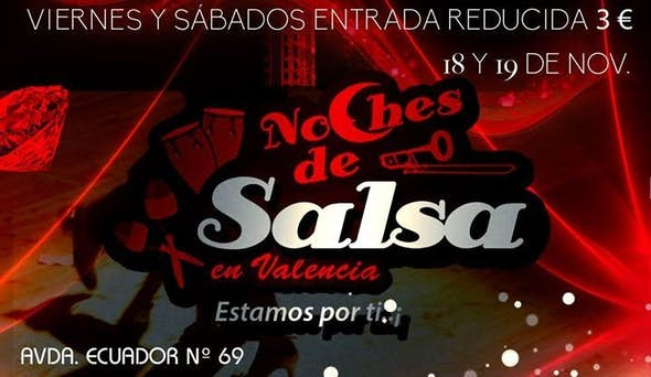 18 y 19 Nov. en Noches De Salsa, entrada Reducida 3€+consumición