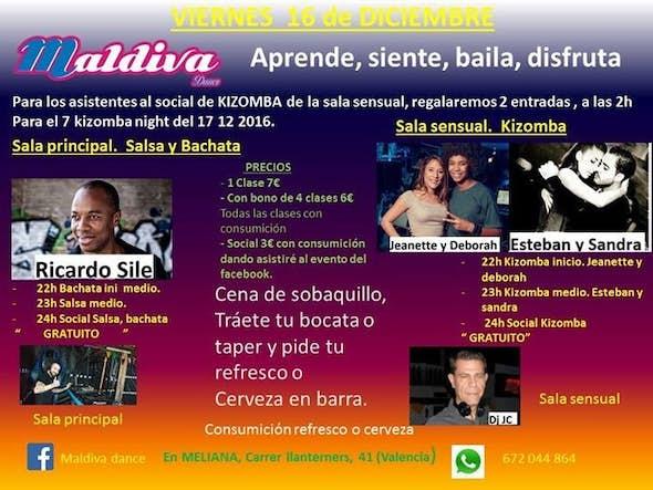 Clases, salsa, bachata y kizomba + social
