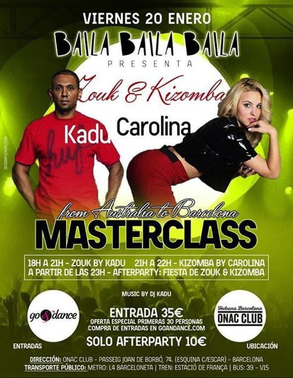Especial noche de Zouk y KizMasterclass by Kadu & Carolina