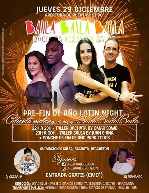 """Pre-Fin de año LATIN NIGHT """"Taller de Bachata & Salsa"""""""
