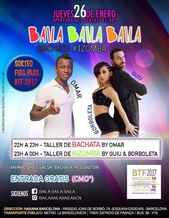 Jueves taller de Kizomba y Bachata en Barcelona