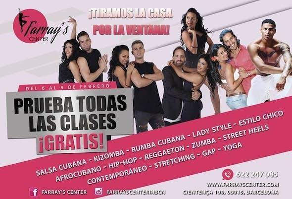 Semana de CLASES DE PRUEBA GRATUITAS en Farray's Center Barcelona