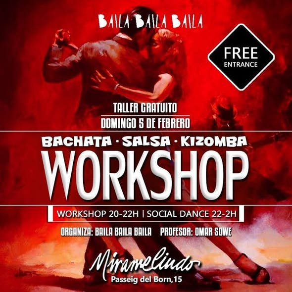 Sunday free class of Bachata and Kizomba in The Born, Barcelona