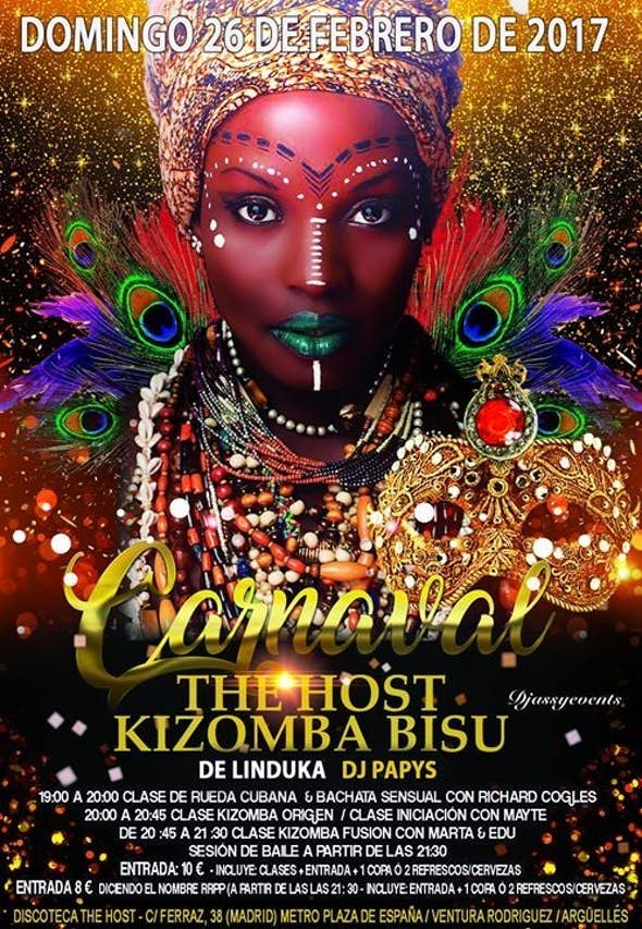 Carnaval en The Host Kizomba Bisú - Domingo 26 de febrero de 2017