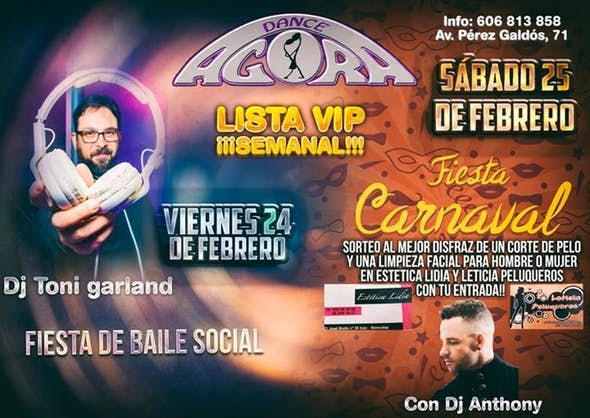 Party social dancing, Carnival and Vip list February 24 and 25