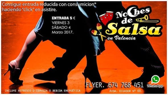 Nights of Salsa, reduced entry 5 € with drink