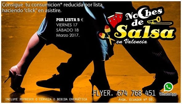 Noches de Salsa, con consumición* reducida por lista 5 €