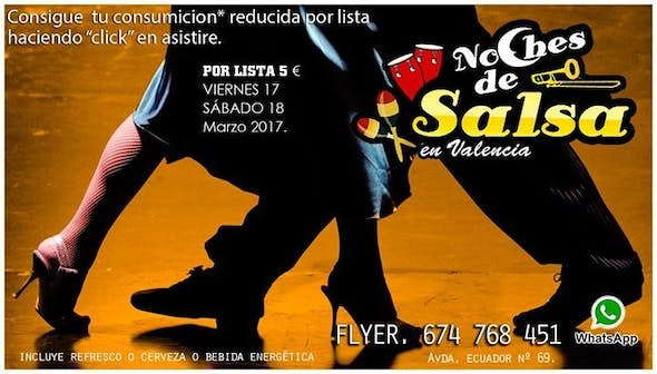 Salsa night, with consumption* reduced for list, 5 €