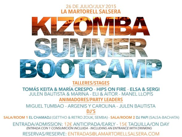 KIZOMBA SUMMER BOOTCAMP 26 JULIO LA MARTORELL SALSERA