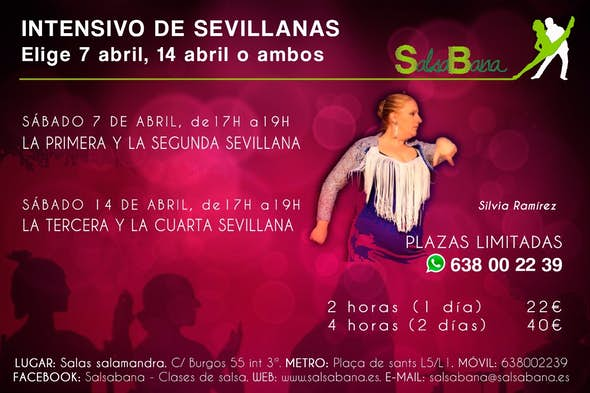 Intensivo de SEVILLANAS en Barcelona - Sábado 7 de abril