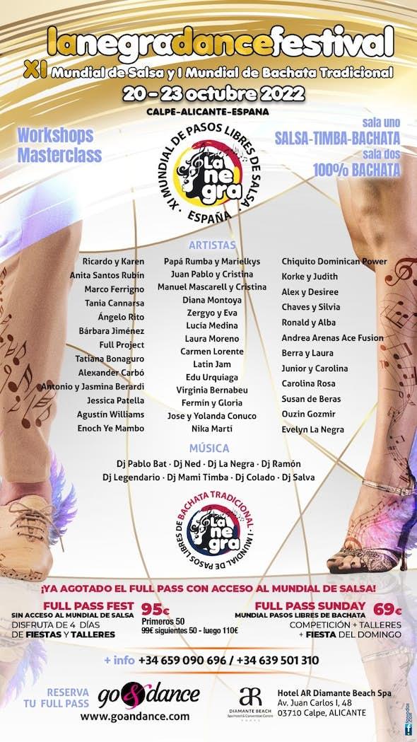 """La Negra Salsa Festival 2020 + XI Campeonato Mundial de Pasos Libres """"La Negra Salsa"""""""